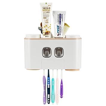 Juego de accesorios de almacenamiento para cepillos de dientes y dispensador de pasta de dientes a prueba de polvo: Amazon.es: Salud y cuidado personal
