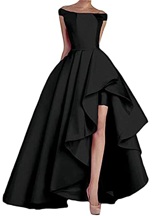 Homdor High Low Off The Shoulder Prom Dresses Long Satin Evening