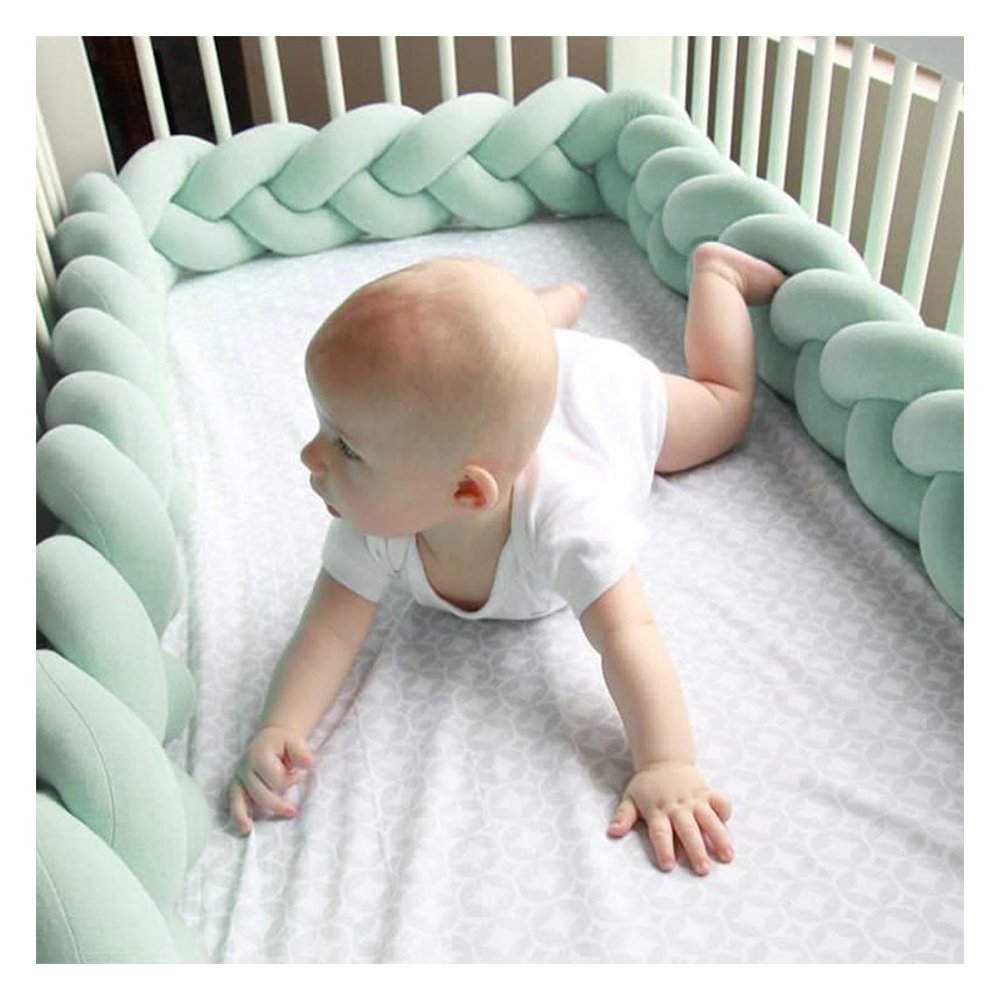 Soft Baby Crib Bed Bumper Braided Crib Bed Bumper Cushion Bumper Knot Long Pillow Newborn Gift Pillow for Boys and Girls,Pink+White+Pink