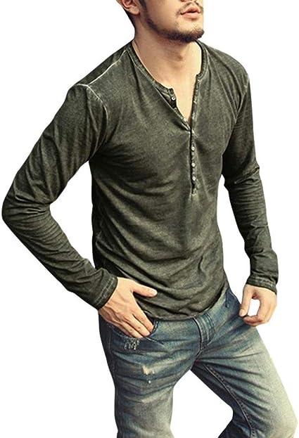 Camisa De Manga Larga para Hombre Camisa Henley con Cuello Ropa En V Vintage Top Blusa Otoño Moda Color Sólido Camiseta Básica Tops: Amazon.es: Ropa y accesorios
