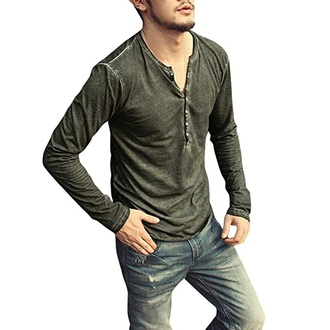 6836a74c47 Camisa De Manga Larga para Hombre Camisa Henley con Cuello En Clásico V  Vintage Top Blusa Otoño Moda Color Sólido Camiseta Básica Tops Chicos   Amazon.es  ...