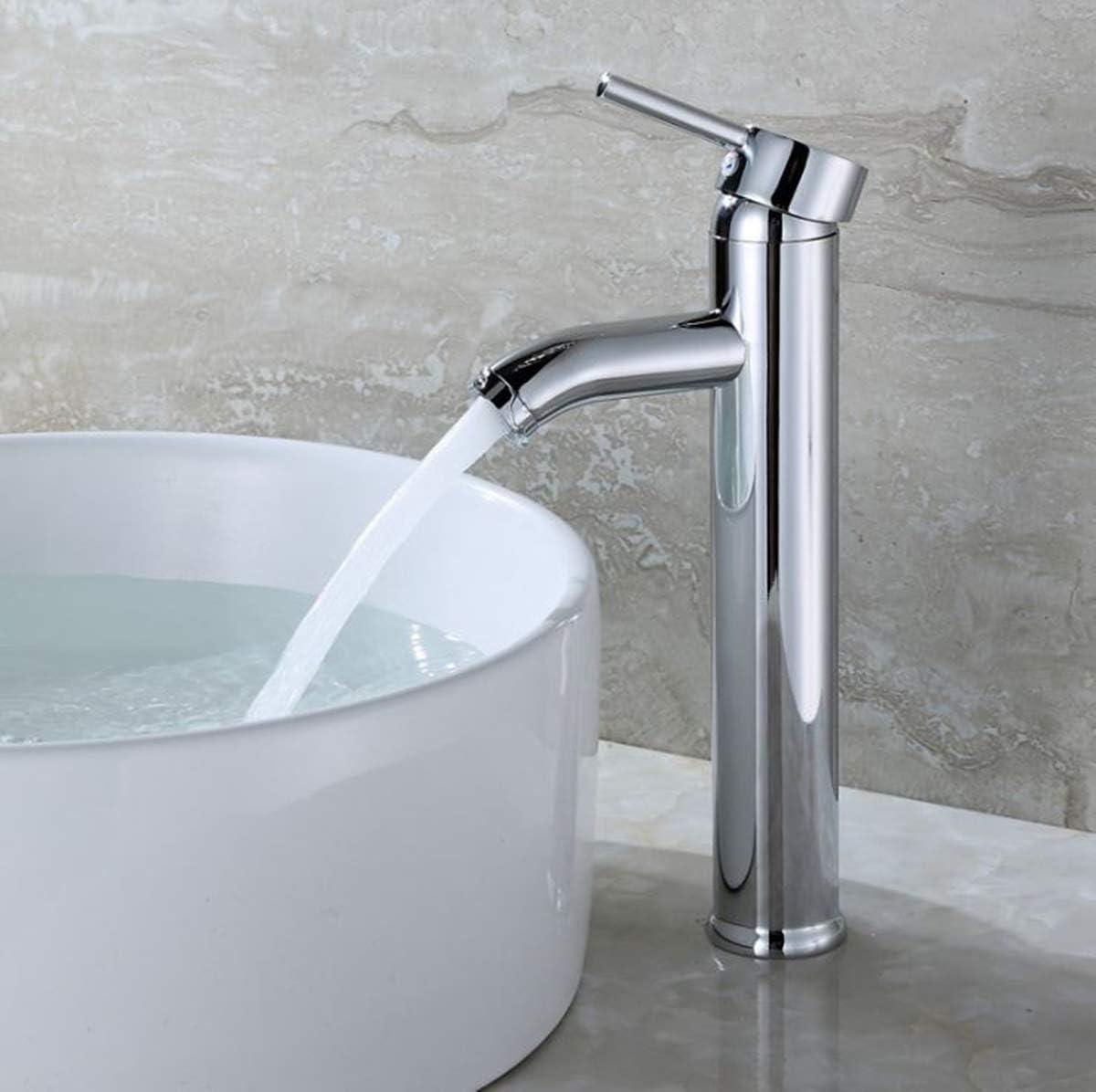 YZY - Grifo de baño, lavabo alto, grifo de baño, grifo de cascada, grifo monomando, grifo de latón cromado: Amazon.es: Bricolaje y herramientas