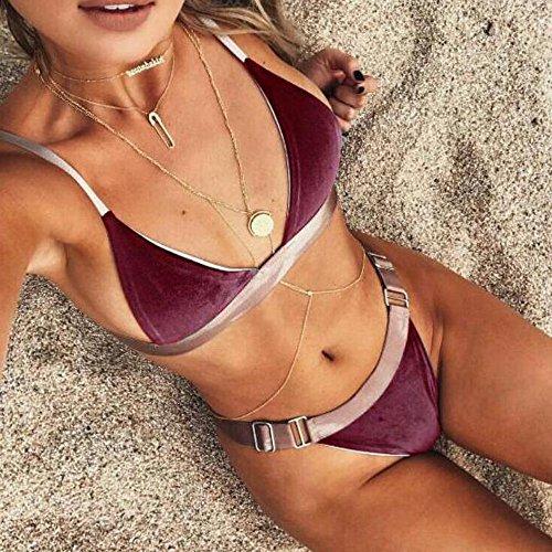 Bikini, KEERADS 1 Conjunto Bikini Conjunto Traje De Baño Push-Up Acolchado Sostén Traje De Baño De Playa Rojo