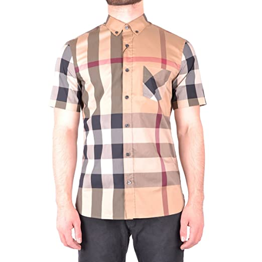 a537d476 BURBERRY Men's Thornaby Camel Check Short Sleeve Shirt at Amazon ...