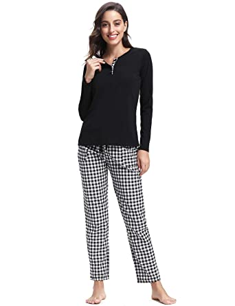 d1d719d0c Abollria Women Soft Pyjama Set,Long Sleeve Pajamas Set Checked Top &  Bottoms Pjs Sleepwear