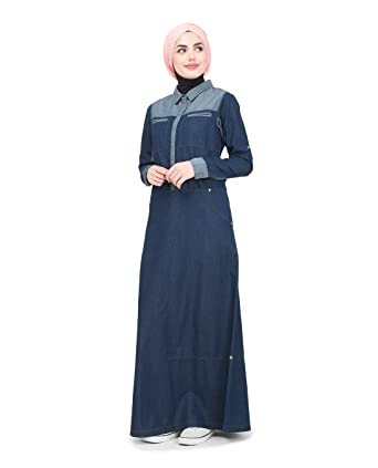 fef6a4e6b230 Amazon.com: Silk Route Utility Contrast Denim Urban Maxi Dress Jilbab Large  56: Clothing