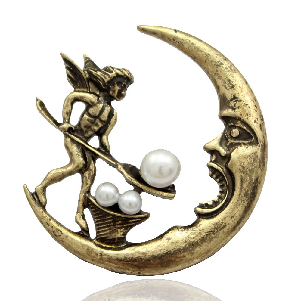 Q&Q Fashion Antique Tribal Angel Fairy Feeding Moon Cresent Pearl Baroque Lapel Brooch Pin 81083