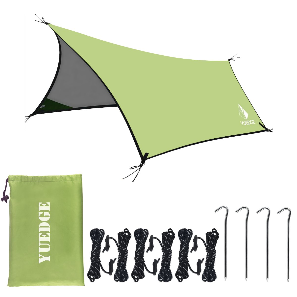 YUEDGE 13 Ft Rain Fly Traps Waterproof Camping Tent Tarps Hammock Rain Fly Shelter Sunshade Rope Stakes, Army, 10' x 13', XL=L400XW300 cm, Green by YUEDGE