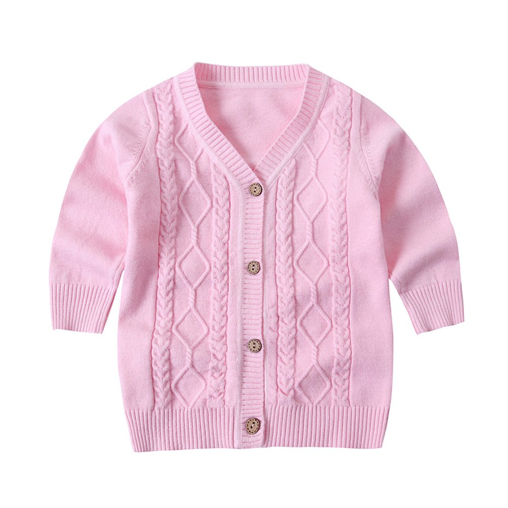 SMILING PINKER Baby Boys Girls Cardigans V-Neck Solid Sweaters Cable Knitted Button Coats Outwear
