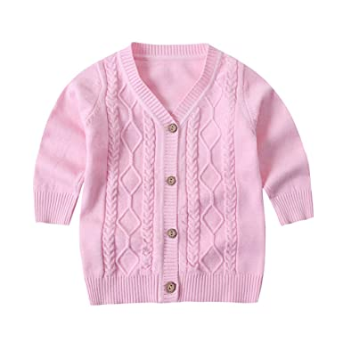 077d30264 ZHUANNIAN Baby Girls Knitted Cardigan Vneck Button Down Cable ...