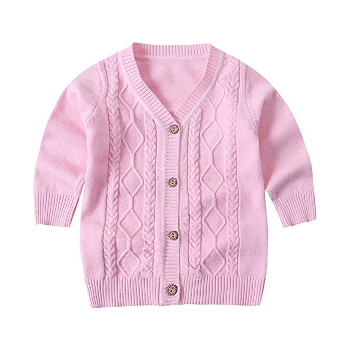 45d54f7ba515 ZHUANNIAN Baby Boys Girls Knitted Cardigan Jacket Long Sleeve Button Down  Cable Sweater (6-