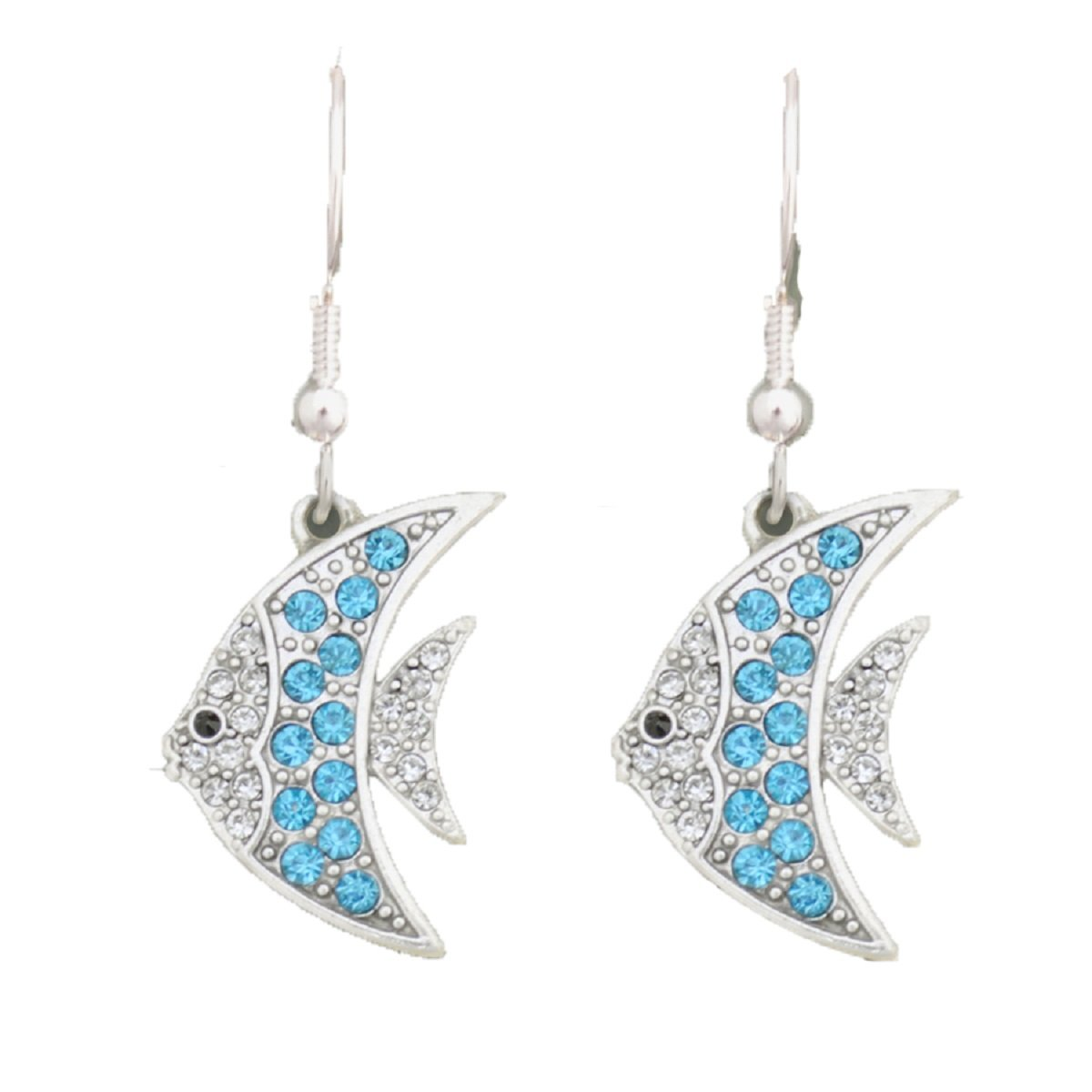 From the Heart Angel Fish Earrings with Turquoise & Clear Crystal Rhinestones Sparkling.Celebrate this Precious Little Fish!Fan tastic Fun Gift for a Tropical Fish Owner,Diver, or Beach Lover!