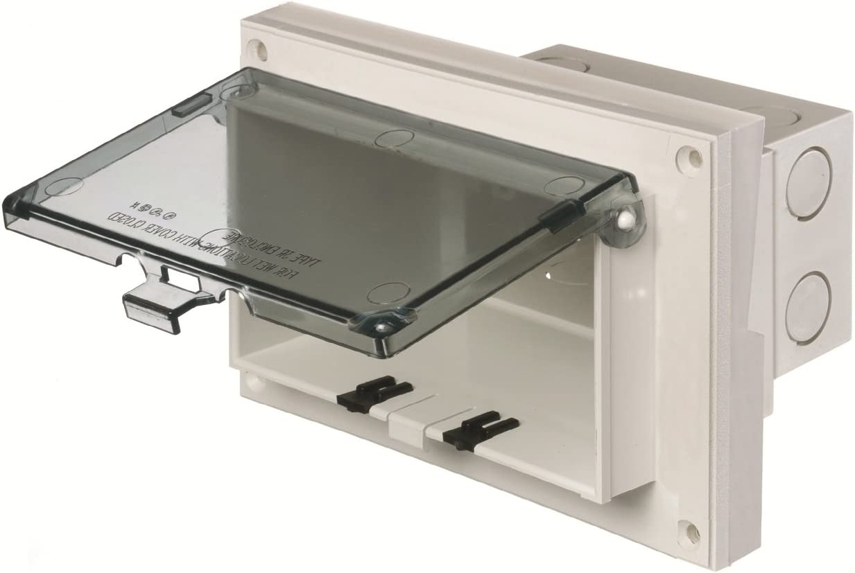 Arlington DBHR131W-1 Low Profile IN BOX Electrical Box with Weatherproof Cover for Retrofit Siding Construction Horizontal White 1//4-Inch or 5//16-Inch Lap