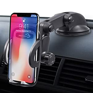 Car Phone Mount, Beyyon Windshield Dashboard Cell Phone Holder for Car Adjustable Dash Car Phone Holder Compatible with iPhone X 8 7 7P 6s 6P 5s Galaxy S9 Plus S8 S7 S6 S5 Google LG Other Smartphones