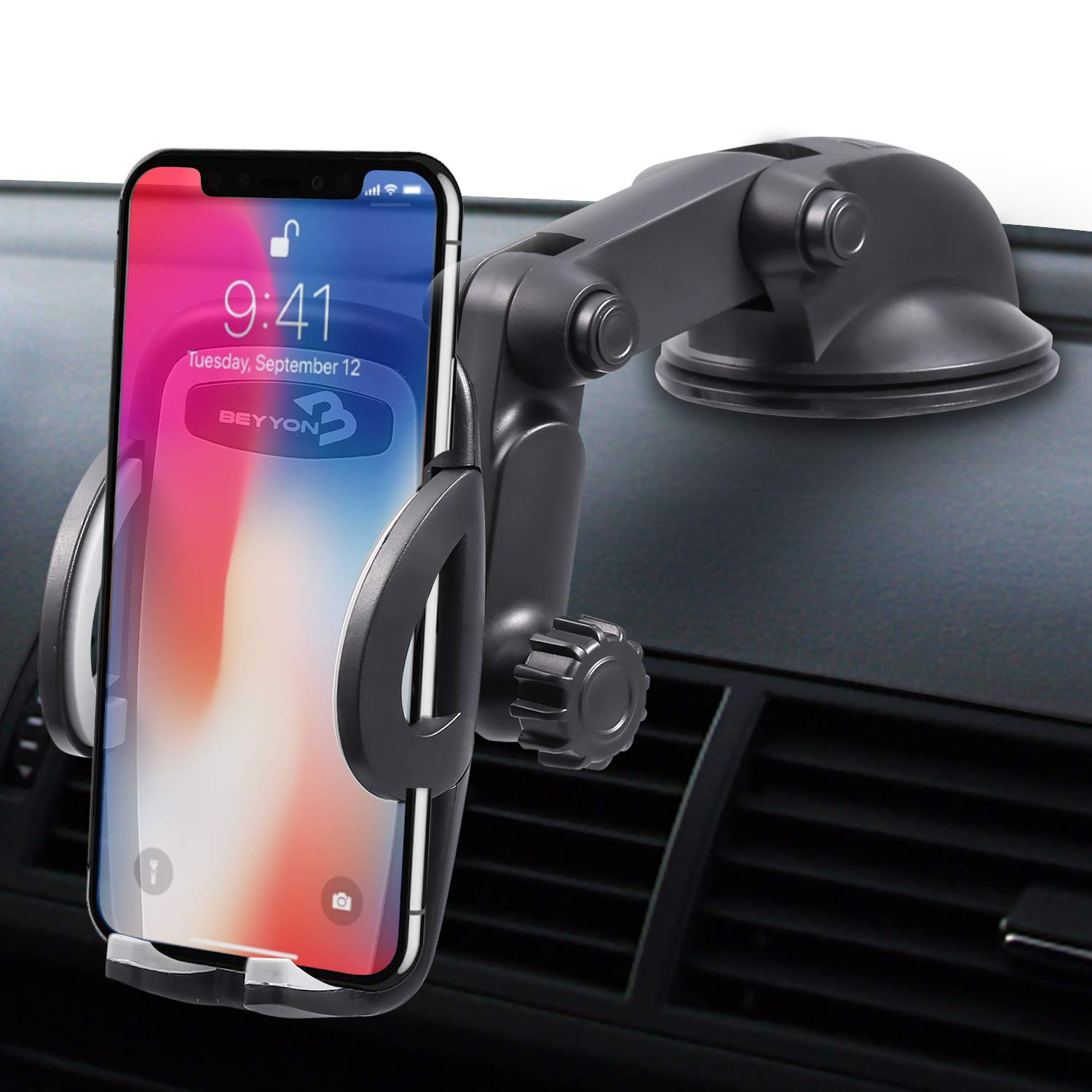 Beyyon Car Phone Mount Dashboard Windshield Cell Phone Holder Cradle for Car with Sticky Suction & Easy One-Touch for iPhone Xs/XS MAX/XR/X/8/8Plus/7/7Plus, Galaxy S8/9/10, Huawei and More - Black