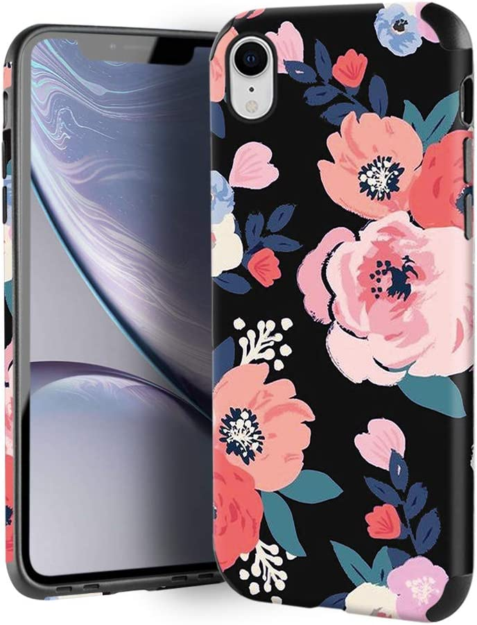 CUSTYPE Case for iPhone XR, iPhone XR Case Floral for Girls & Women, Floral Series Watercolor Camellia Flower Print Pattern Design PC Leather with TPU Bumper Slim Protective Cover for iPhone XR 6.1''
