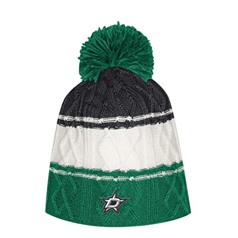 21e237a2065 Amazon.com   adidas Women s Dallas Stars Beanie Cable Knit Cap with Pom    Sports   Outdoors