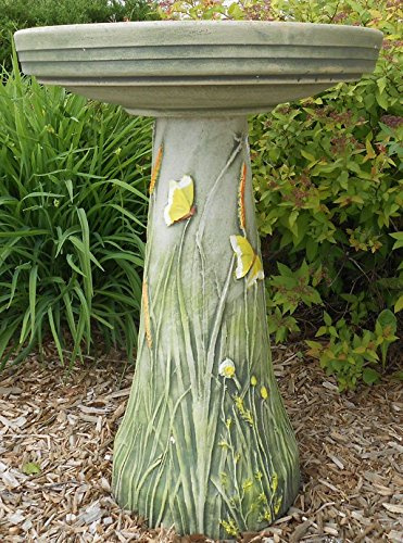 Butterflies Handcrafted Clay Birdbath Set – Made in the USA