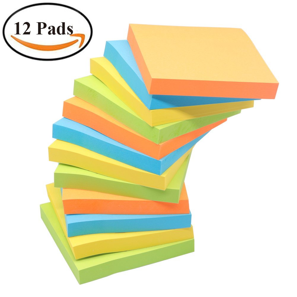 Sticky Notes, NOMOLOS 3 in x 3 in, 12 Pads, 100 Sheets/Pad, 4 Colors Easy Post, Self-Sticky Notes for Office, School, Business, Family