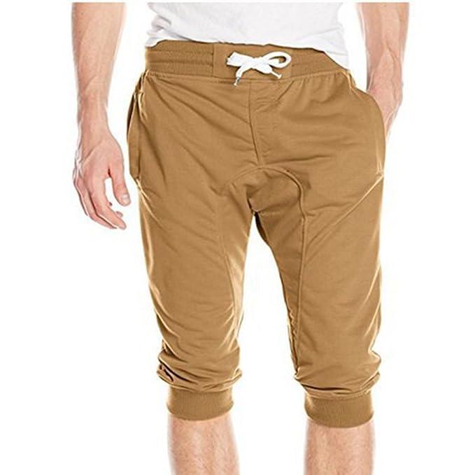 7456d2358868 Yying Sommer Kurze Sporthose für Herren Elastische Taille Bequem Hose Mode  Einfarbig Beiläufig Slim Trainingshose Shorts