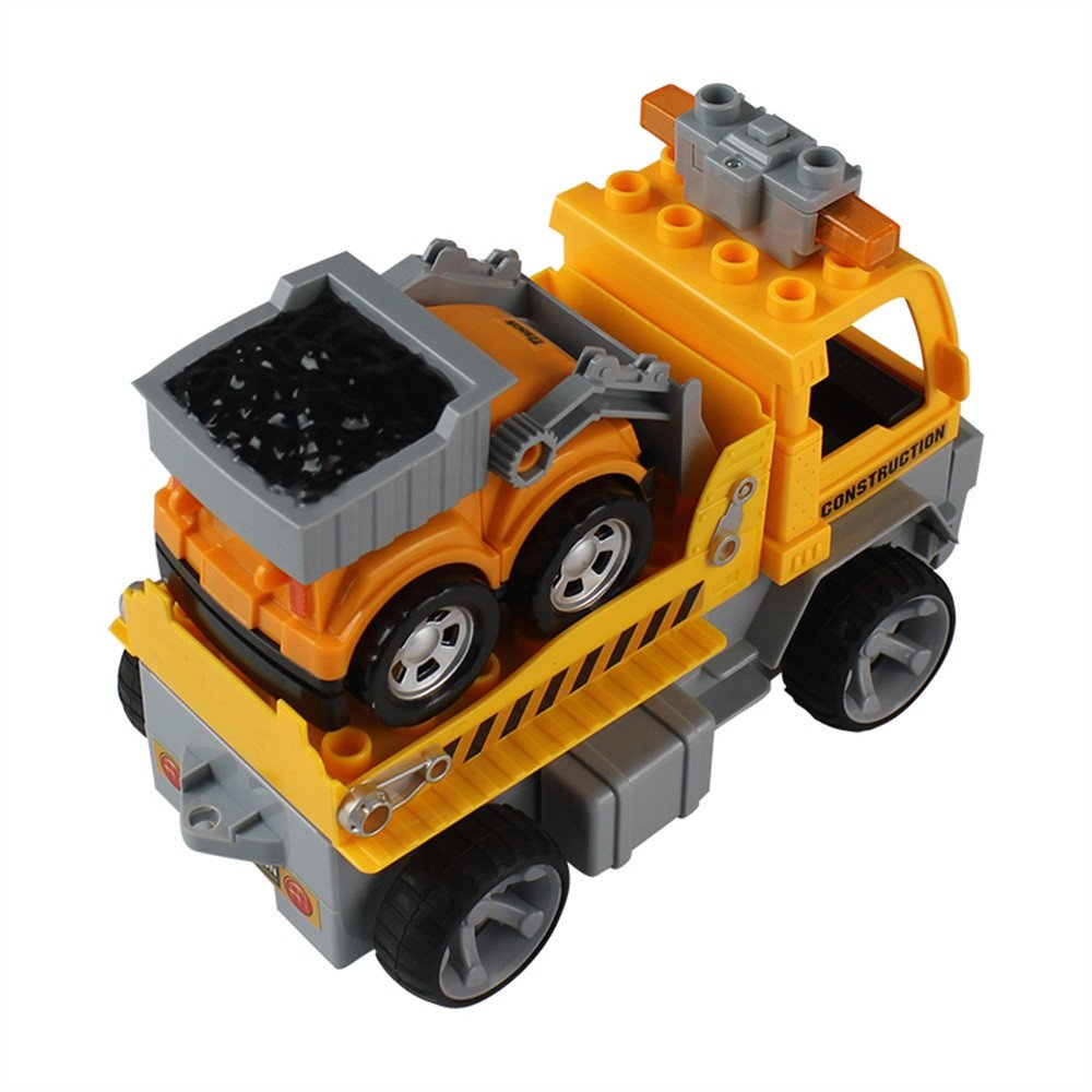 Gbell 1:18 Car Large Building Block RC Trailer,3D Vehicle Puzzle Educational Toy for Kids Boys 8+ (Yellow) by Gbell (Image #5)