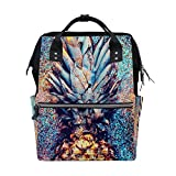 WOZO Glitter Fruit Pineapple Multi-function Diaper Bags Backpack Travel Bag