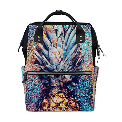 WOZO Glitter Fruit Pineapple Multi-function Diaper Bags Backpack Travel Bag by WOZO