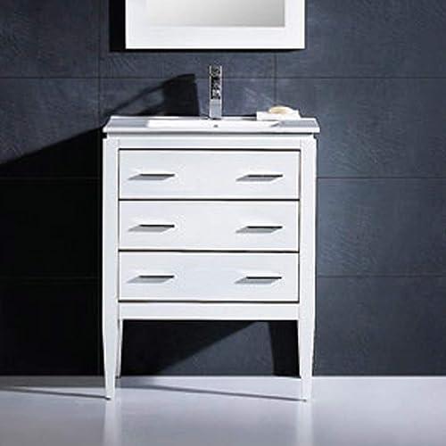 Dowell D01-30-01 Bathroom Vanity Ceramic Top Set Milk White 18 D