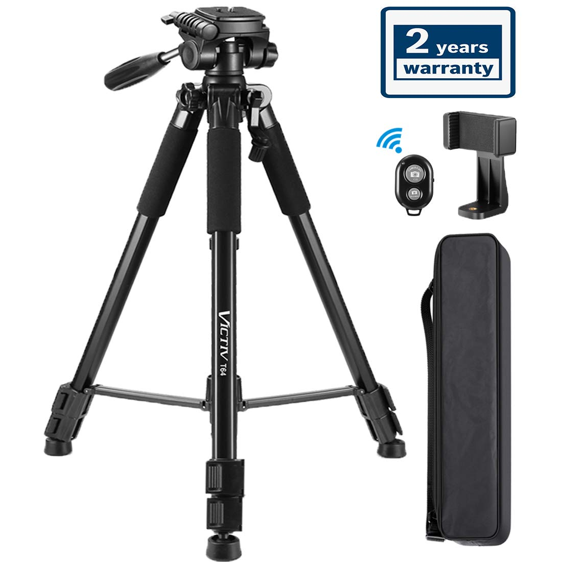 64-Inch Tripod, Camera Aluminum Tripod & Cell Phone Selfie Sticks with Phone Tripod Mount and Remote Shutter, Ideal for YouTube Videos and Instagram Facebook Live - Black by Victiv