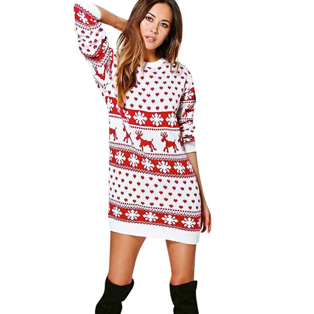 AMUSTER Damen Weihnachten Langarm Minikleid Frauen Christmas Reindeer Printed Langarm weihnachten Sweatshirt Pullover Kleid Weihnachten Geschenk