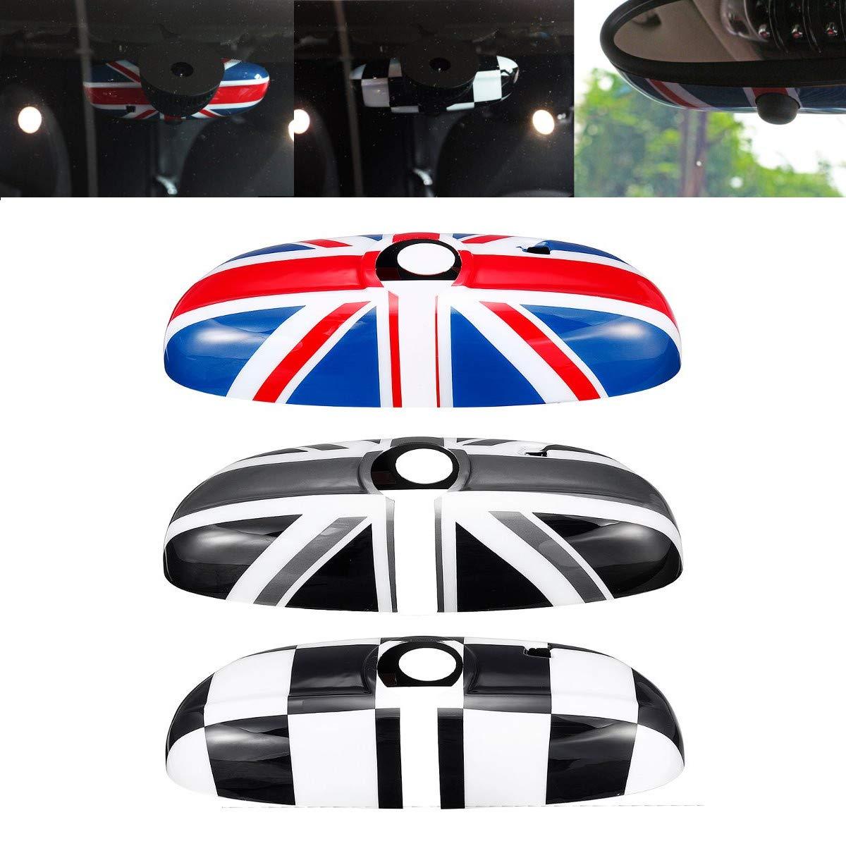 Viviance Interior del Coche Espejo Retrovisor Cubierta Shell UK Bandera para BMW Mini Cooper F55 F56 F54 F60 Versi/ón De Gama Alta Gris Negro
