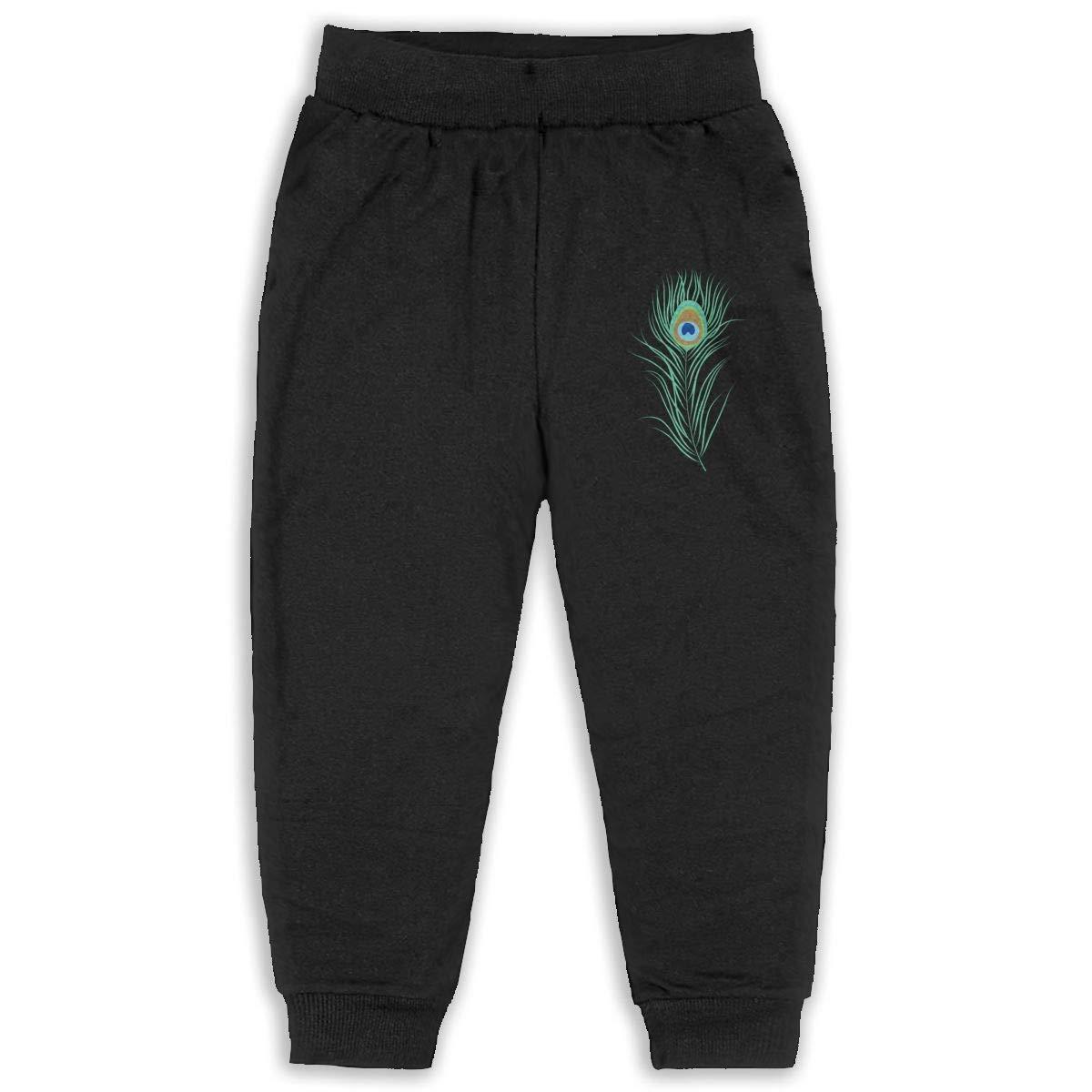 EASON-G Kids Joggers Peacock Feather Fashion Sweatpants 2T 6T