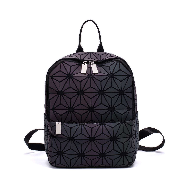 Women Geometric Luminous Backpack Fashion Bags Lingge Flash Travel School  College Rucksack NO.6S e6f8c31e7c