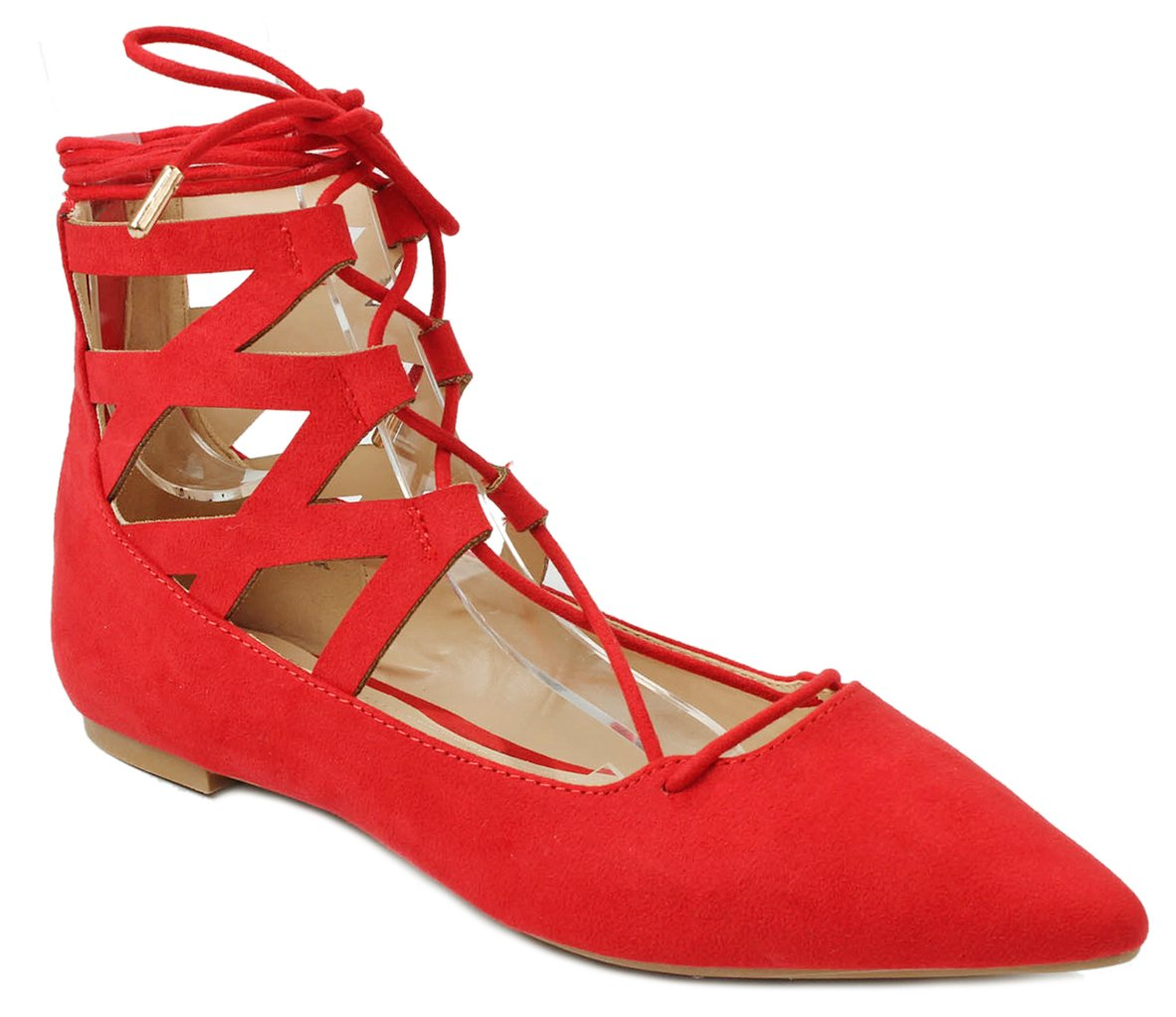 Women Lace Up Cut Out Ankle Cuff Dress Ballet Flats B01DCX0EP2 7 B(M) US|Red Suede