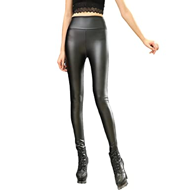 8c32a64a32c01a YOFIT Women's Sexy Shiny Wet Look Leggings Plus Size Skinny PU Faux Leather  Tights Slim Fit