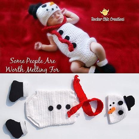 Bebé recién nacido de Navidad fotografía Prop ganchillo de punto Crochet disfraz muñeco de nieve 4