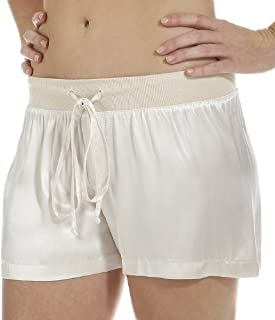 product image for PJ Harlow Women's Mikel Satin Boxer Short with Draw String - PJSB5 (XS, Eggnog)
