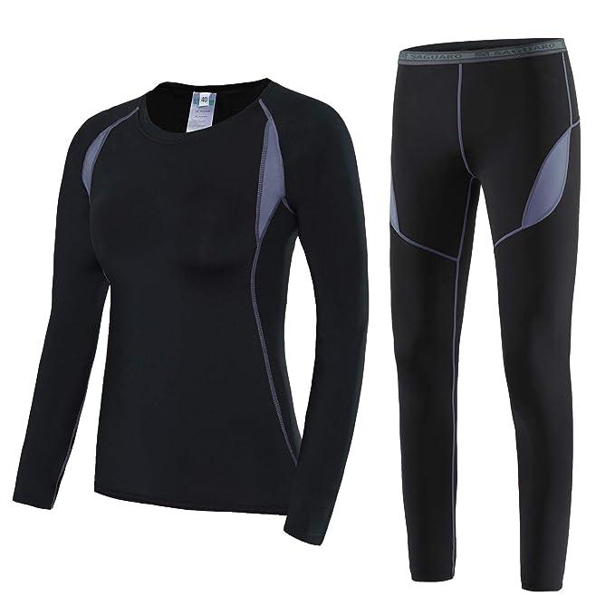 wie kauft man am besten authentisch Qualität und Quantität zugesichert SAGUARO Thermounterwäsche Damen Skiunterwäsche Warm Funktionsunterwäsche  Winter Atmungsaktiv Thermo Unterwäsche