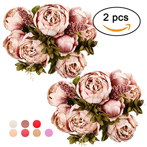 Flowers That Never Die - Ogrmar Vintage Artificial Peony Silk Flowers Bouquet for Decoration (Cameo Brown x2)