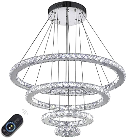 f73eb75870 VALLKIN Dimmable Modern Round Ring Clear K9 Crystal Chandeliers Lighting  Ceiling Pendant Light Fixture Lamp 4