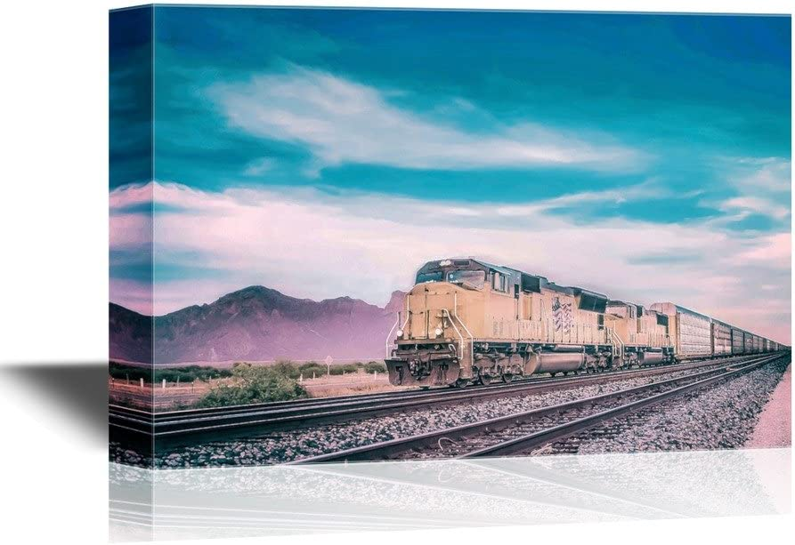 wall26 - Canvas Wall Art - Freight Train Running Travelling Arizona Desert - Gallery Wrap Modern Home Decor | Ready to Hang - 24x36 inches