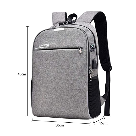 Amazon.com: Anti Theft Password Locks Men Backpacks USB Charging Backpack With Headphone Plug Business Travel Backpack Bag Black: Clothing