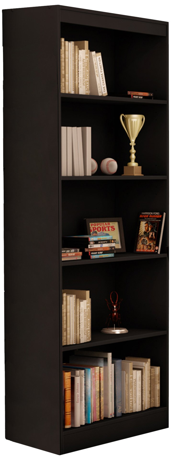 South Shore Jazz 5-Tier Open Bookcase, 72-Inch, Black