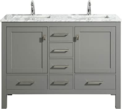 Eviva London 48 X 18 Inch Gray Transitional Double Sink Bathroom Vanity With White Carrara Marble Countertop And Undermount Porcelain Sinks Amazon Com