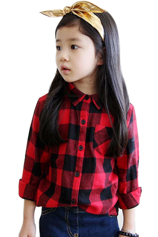 Moge Girls fashion leisure plaid shirt long sleeve shirts