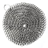 Zehui Cleaning Brush Stainless Steel Kitchenware Cleaner Cast Iron Cleaner Chainmail Scrubber Silvery Brush Pot Round Silver 7x7