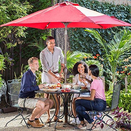 Abba Patio Outdoor Patio Umbrella 9-Feet Aluminum Market Table Umbrella with Push Button Tilt and Crank, Red