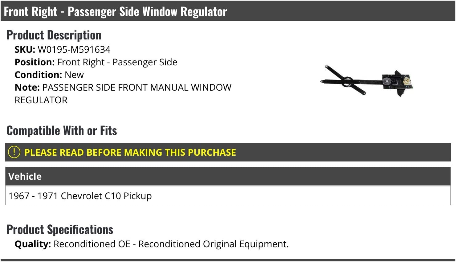 Manual Window Regulators Front Right Passenger Side Manual Window ...