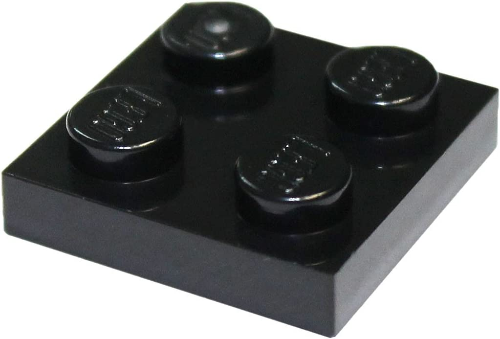 LEGO Parts and Pieces: Black 2x2 Plate x100