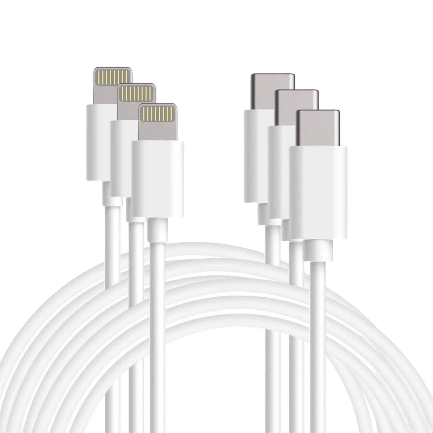 USB C to Lightning Cable 6 FT - Apple MFi Certified Lightning to USB-C Fast Charging Cable Compatible with iPhone 11/11 Pro/11 Pro Max/X/XS/XR/XS/8/8 Plus, Supports Power, Sync, Made to Last (3 Pack)